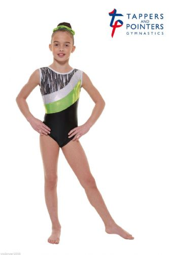 Tappers and Pointers Gymnastics Leotard PLUS Matching Hair Scrunchie Lime Gym 43